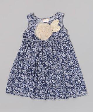 Navy Floral Rosette Dress - Toddler & Girls
