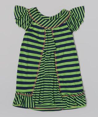 Lime & Navy Stripe Tiered Ruffle Dress - Toddler & Girls