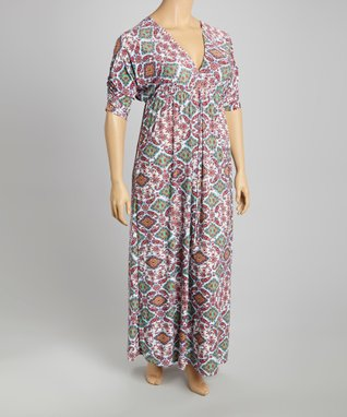 Red & Green Paisley Maxi Dress - Plus