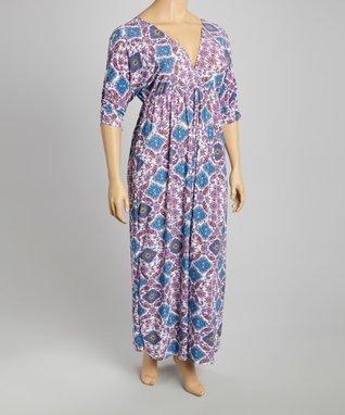 Purple & Blue Paisley Maxi Dress - Plus