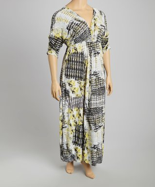 Blue & Yellow Abstract Maxi Dress - Plus