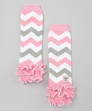 Pink & Gray Zigzag Glam Baby Leg Warmers