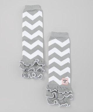 Gray & White Zigzag Glam Baby Leg Warmers