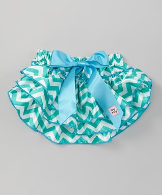 Teal Zigzag Glam Diaper Cover - Infant