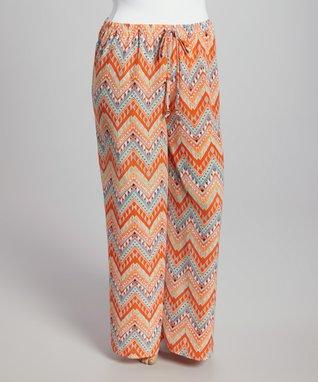 Orange Zigzag Wide-Leg Palazzo Pants - Plus