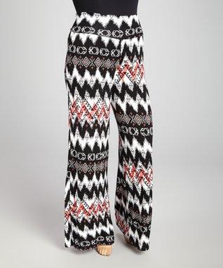 Black & Coral Tribal Palazzo Pants - Plus