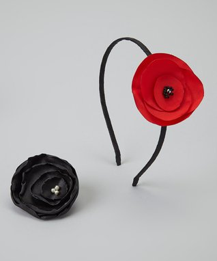 Pop-on Posy Black & Red Headband & Magnetic Flower Set