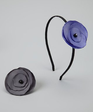 Pop-on Posy Black & Lavender Headband & Magnetic Flower Set