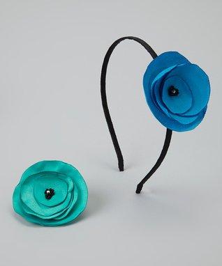 Pop-on Posy Blue & Green Headband & Magnetic Flower Set