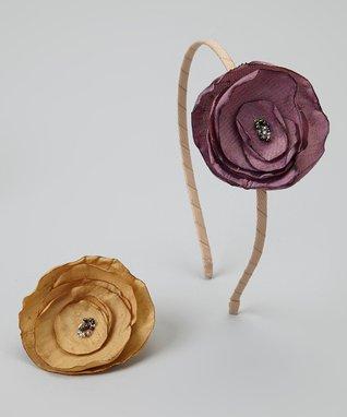 Pop-on Posy Purple & Tea Headband & Magnetic Flower Set