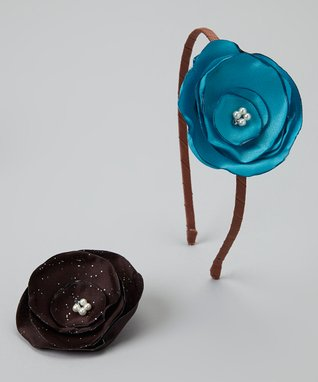 Pop-on Posy Brown & Brown Sparkle Headband & Magnetic Flower Set