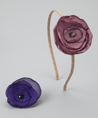Pop-on Posy Tan & Wine Headband & Magnetic Flower Set