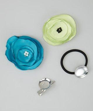 Pop-on Posy Ocean Blue & Light Green Hair Tie & Magnetic Flower Set