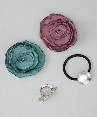 Pop-on Posy Teal & Aubergine Flower Silk Pony Clip Set