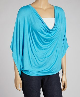 Turquoise Drape Cape-Sleeve Top - Plus