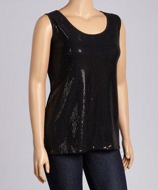 Black Sequin Sleeveless Top - Plus