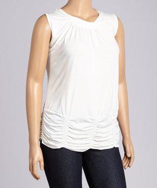 White Ruched Sleeveless Blouson Top - Plus