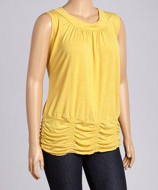 Yellow Ruched Sleeveless Blouson Top - Plus