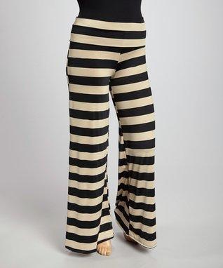 Black & White Stripe Straight-Leg Pants - Plus