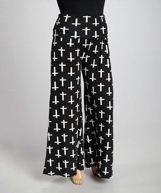 Black & White Cross Straight-Leg Pants - Plus