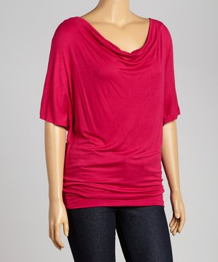 Fuschia Short-Sleeve Drape Top - Plus
