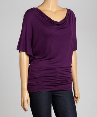 Deep Violet Short-Sleeve Drape Top - Plus