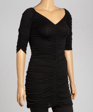 Black Short-Sleeve Drape Top - Plus