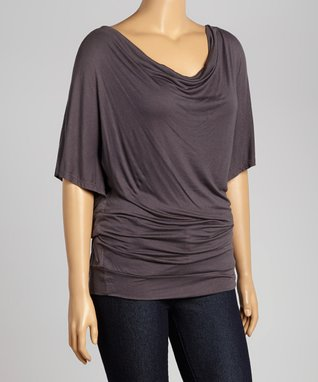 Charcoal Short-Sleeve Drape Top - Plus