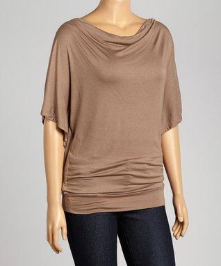 Sand Short-Sleeve Drape Top - Plus