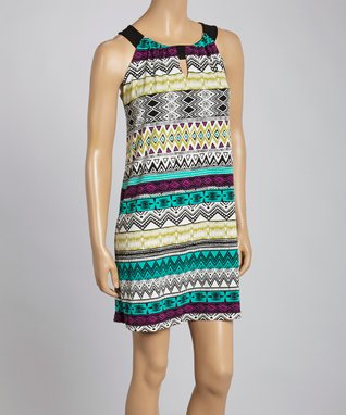 Turquoise Sunburst Smocked Sleeveless Dress