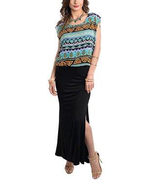 Aqua & Black Geo Blouson Maxi Dress