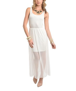 Ivory Blouson Maxi Dress
