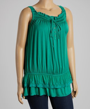Green Abstract Sublimation Notch Neck Top - Plus