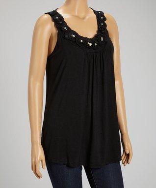 Black Rosette Pearl Sleeveless Top - Plus