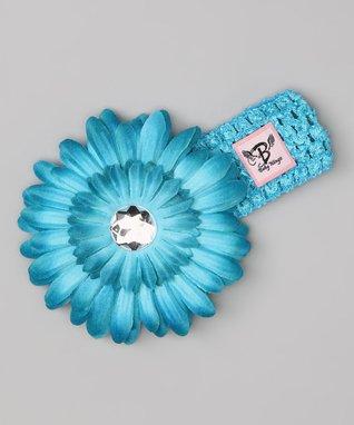 Teal Rhinestone Flower Headband