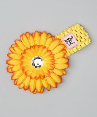 Yellow & White Shabby Bling Headband