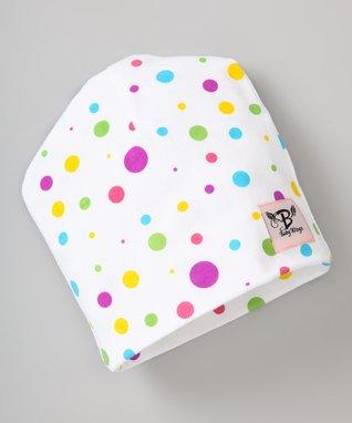 White & Purple Polka Dot Beanie