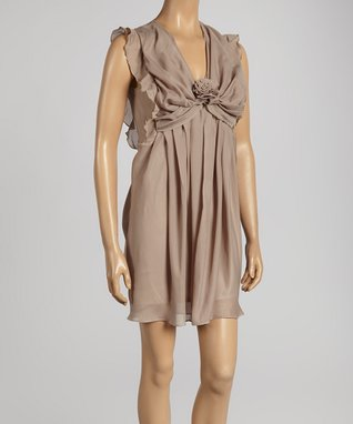 Beige Rosette V-Neck Sheath Dress