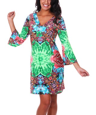 Green & Pink Geometric V-Neck Dress