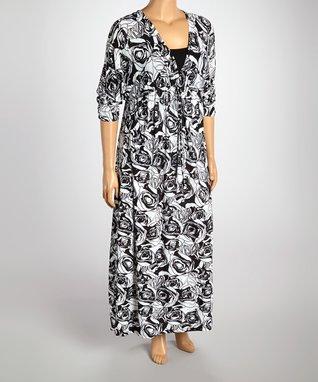 Black & Aqua Floral Maxi Dress - Plus