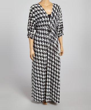 Black & White Houndstooth Surplice Dress - Plus