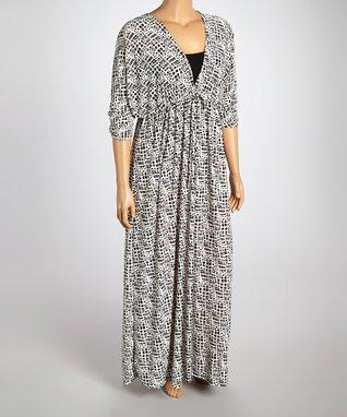 Black & White Abstract Surplice Dress - Plus