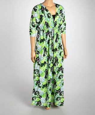 Green & Black Swirl Surplice Dress - Plus