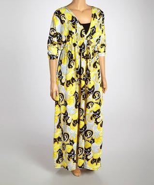 Yellow & Black Swirl Surplice Dress - Plus