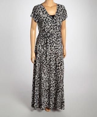 Black & Charcoal Leopard Wrap Dress - Plus