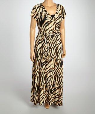 Black & Brown Zebra Surplice Dress - Plus