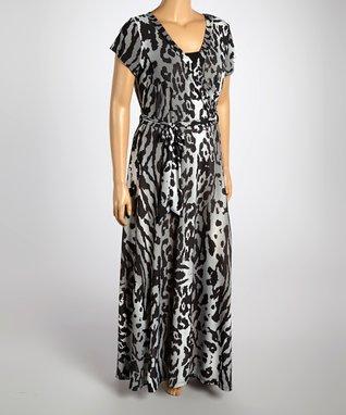 Black & Gray Animal Wrap Dress - Plus