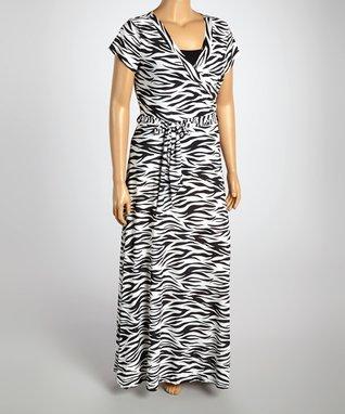 Black & White Zebra Wrap Dress - Plus
