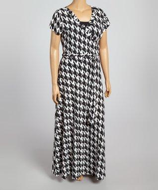 Gray & Yellow Abstract Maxi Dress - Plus