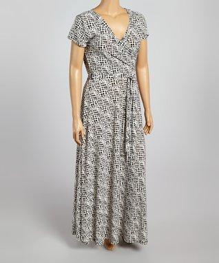 Black & Ivory Abstract Wrap Dress - Plus